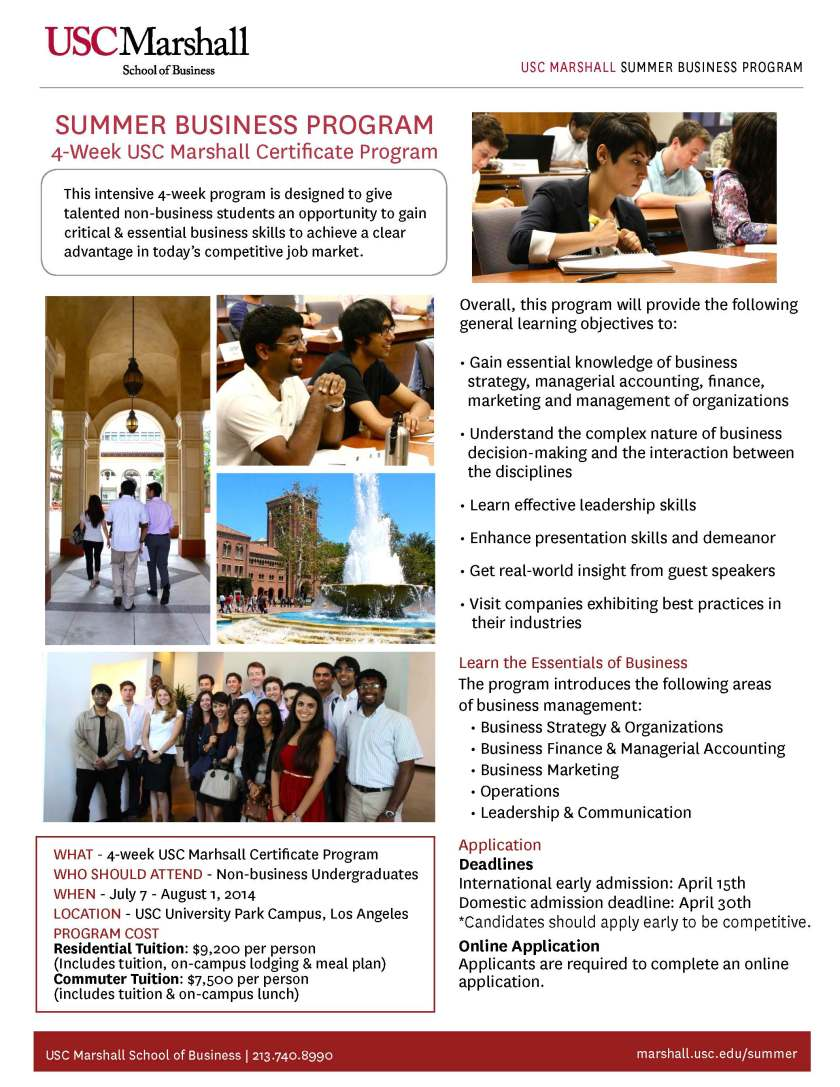 One Pager_Summer Business Program 2014