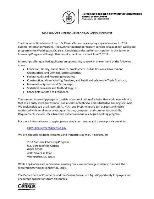 2014 Internship Announcement