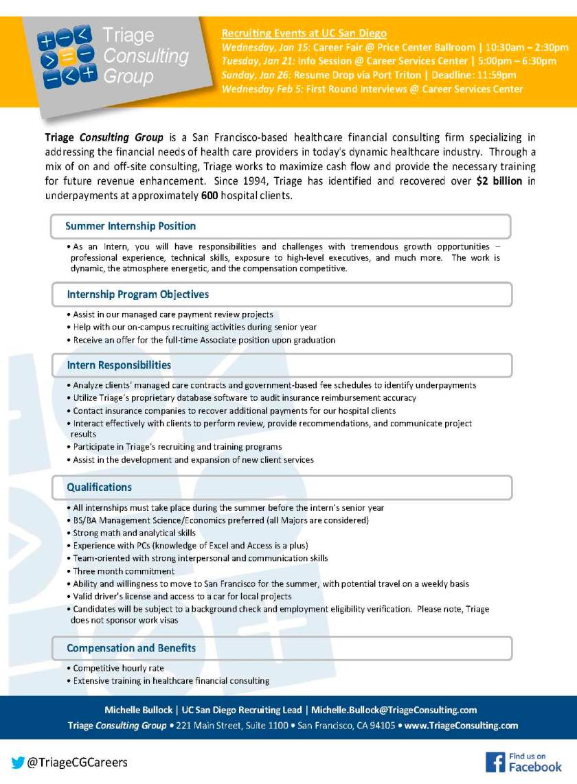 Triage Consulting Group - Summer Internship