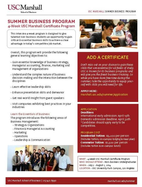 USC Summer Business Program - Spring 2014