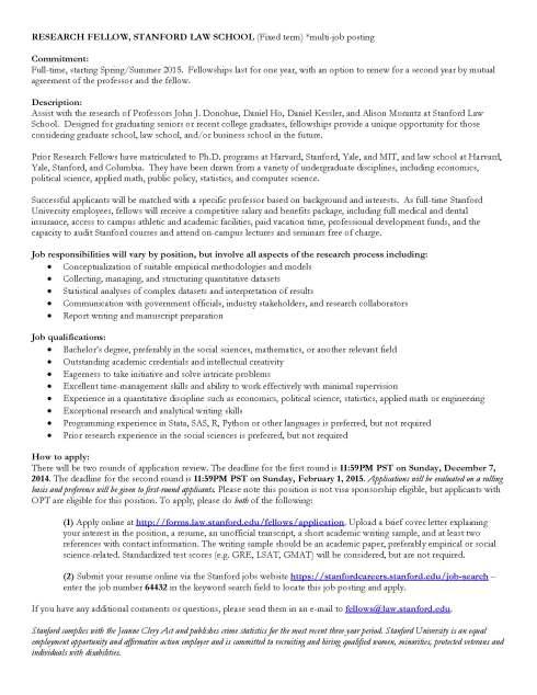Stanford Law School RF Posting - Group Fall 2014