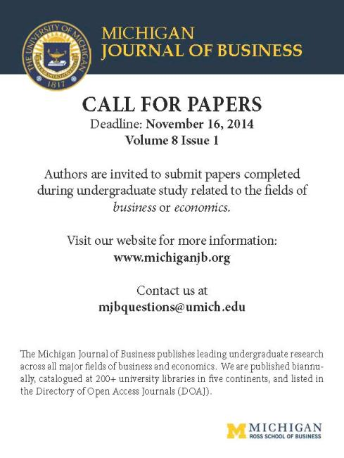 Michigan Journal of Business - Call for Papers F14