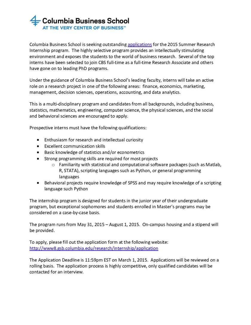 2015 Summer Research Internship Flyer