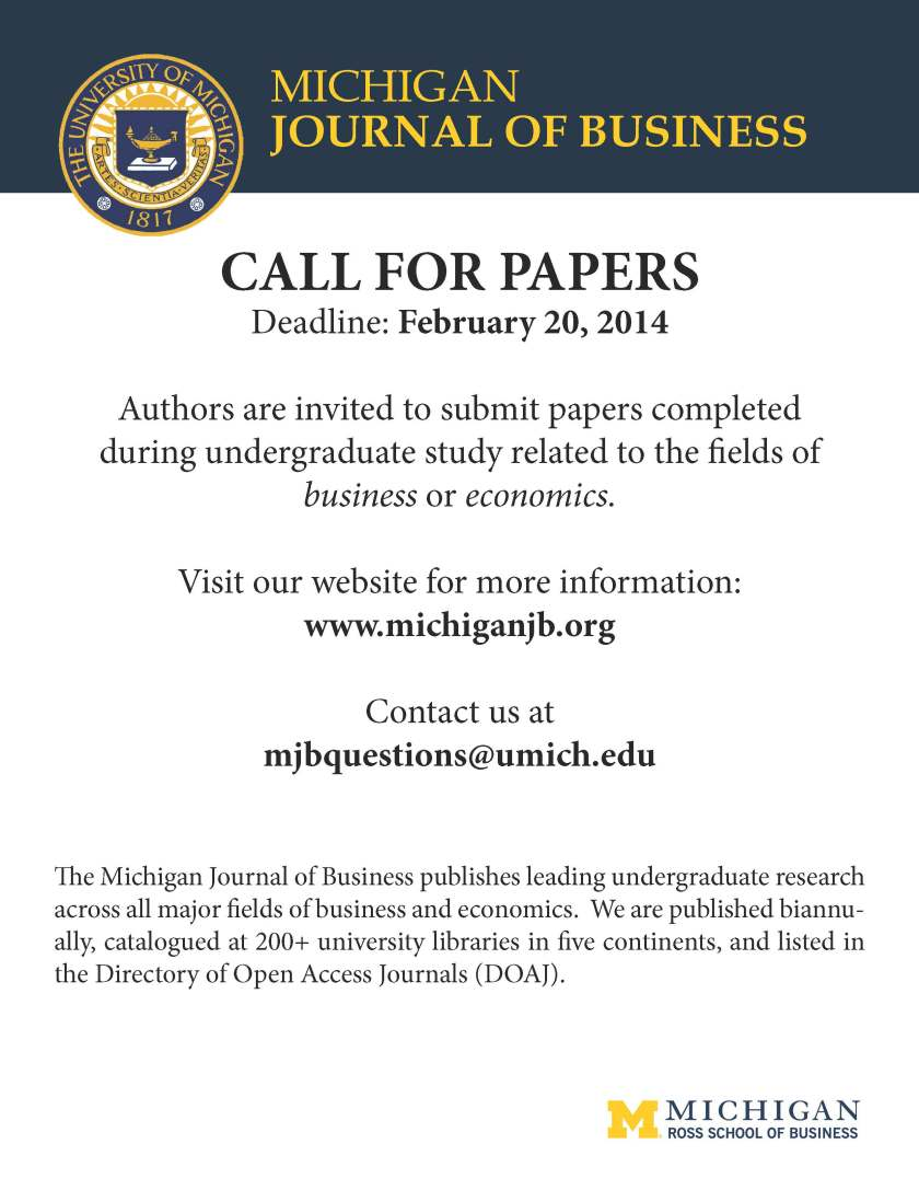 Michigan Journal of Business - Call for Papers W15