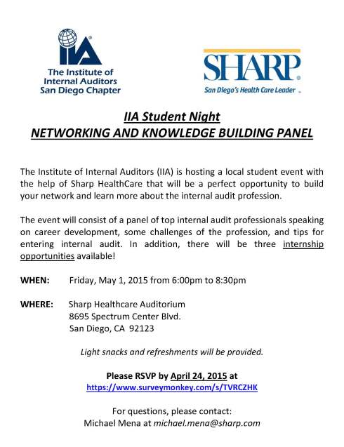 StudentNightFlyer - Networking and Knowledge Building Panel May 1 2015