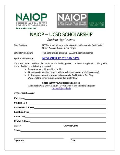 2015 Fall NAIOP UCSD scholarship