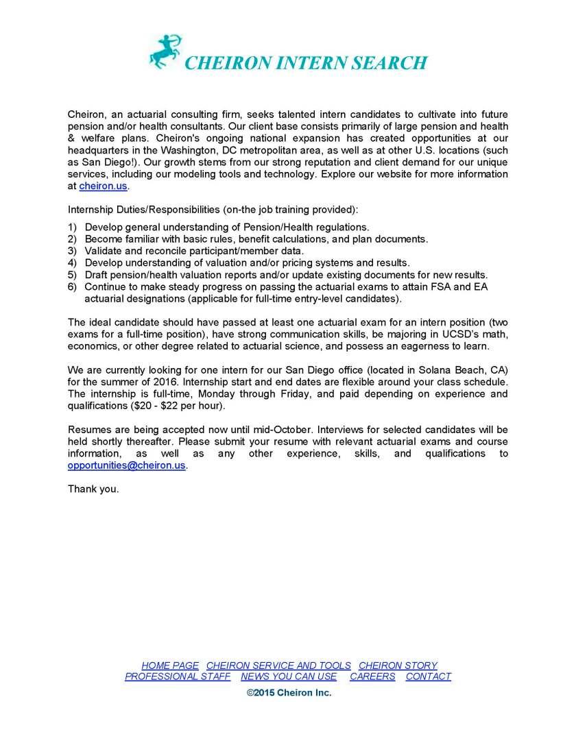 Cheiron Intern Job Description - UCSD summer 2016vs