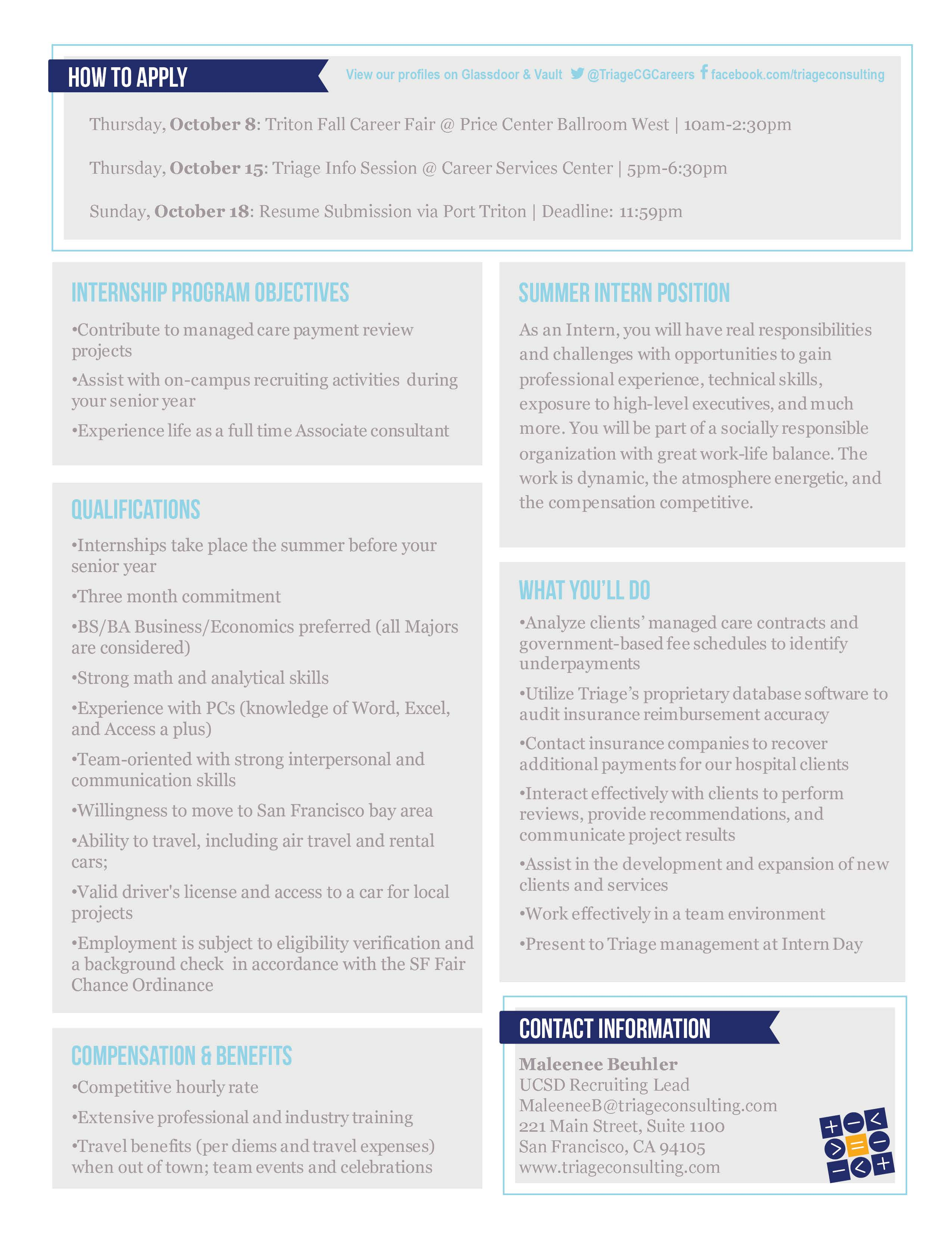 triage consulting group summer internship opportunity connect triage consulting group summer internship page 2