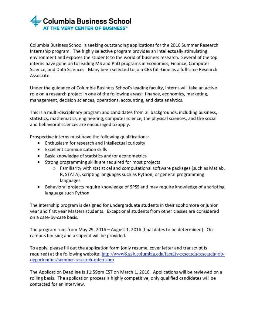 2016 Summer Research Internship Flyer