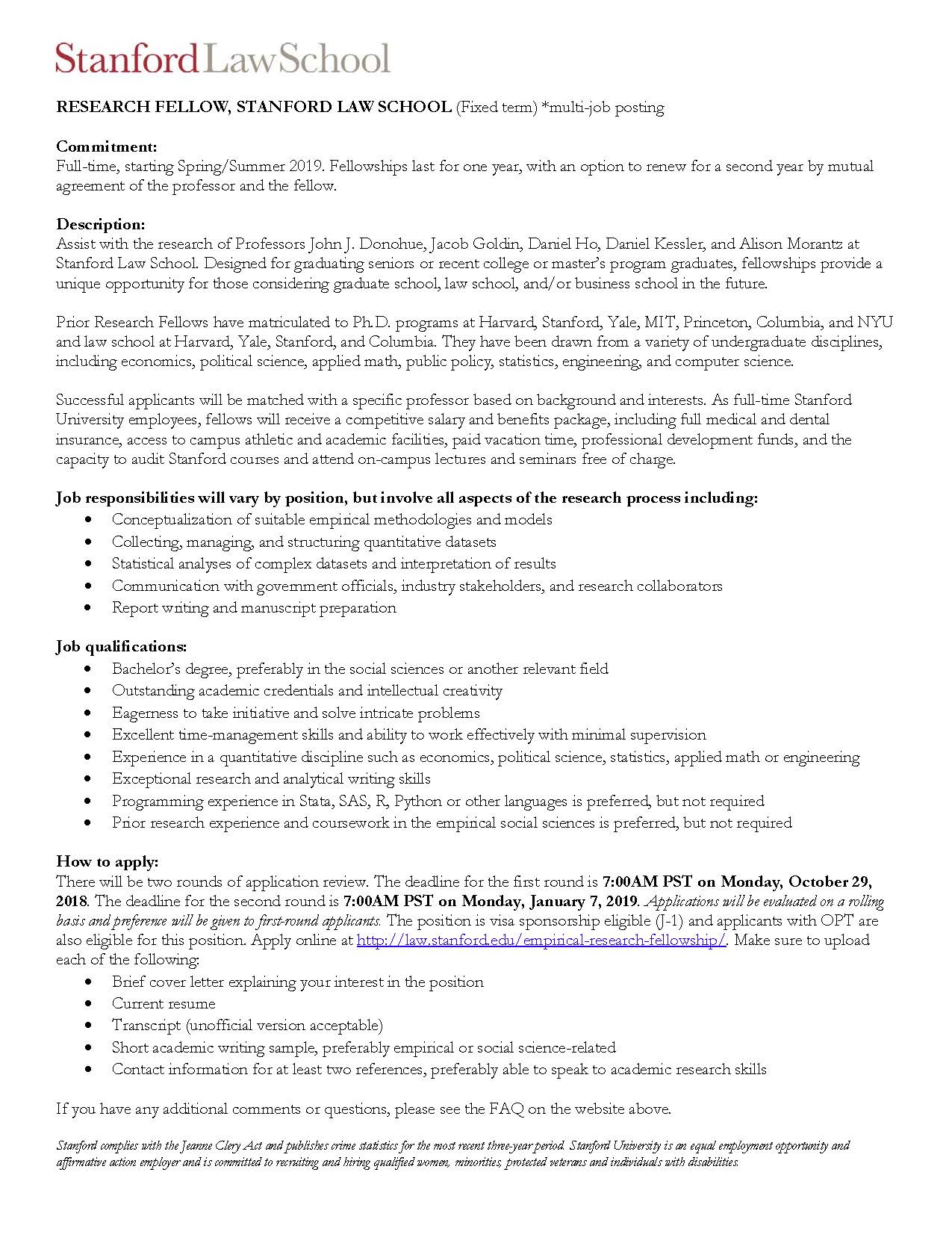 Job Posting – Research Fellow at Stanford Law School – Econ UG Blog