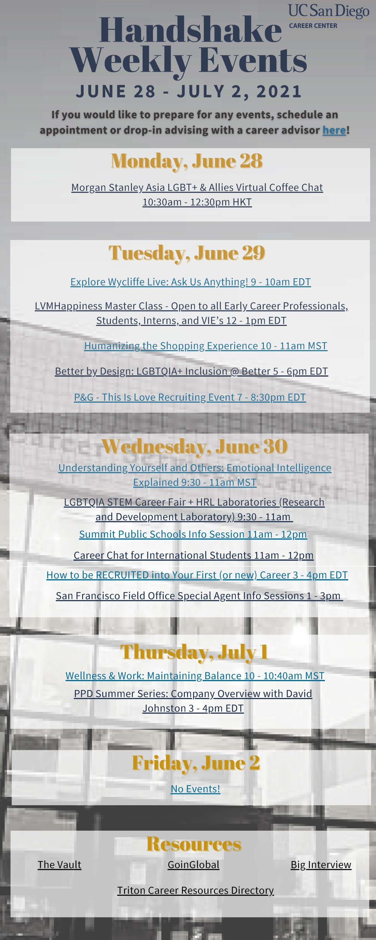 Career Center Handshake Weekly Events for June 28th – July2nd